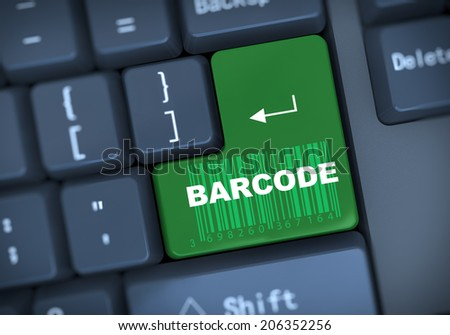 3d illustration of computer keyboard enter button with text barcode - stock photo