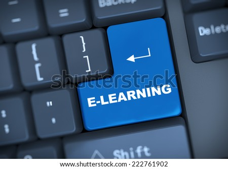 3d illustration of computer keyboard enter button with word e-learning - stock photo
