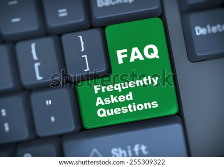 3d illustration of computer keyboard enter button with word faq frequently asked questions  - stock photo