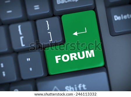 3d illustration of computer keyboard enter button with word forum - stock photo