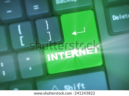 3d illustration of computer keyboard enter button with word internet - stock photo