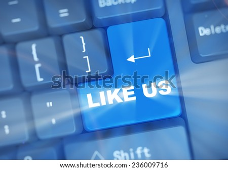 3d illustration of computer keyboard enter button with word like us - stock photo