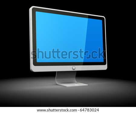 3d illustration of computer monitor over dark background - stock photo