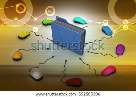 3D illustration of Computer mouse with file folder