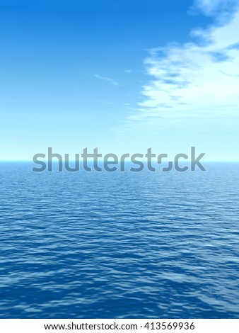 3D illustration of concept conceptual sea or ocean calm water waves, sky cloudscape exotic or paradise background for nature, peace, summer, travel, tropical, tourism, vacation or holiday seascape