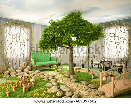 3d illustration of Concept of eco home. Room full of plants, tree, grass, stones, mushrooms and flowers. Fabulous interior. - stock photo