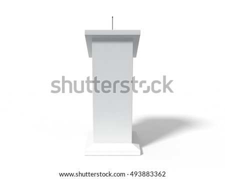 3d illustration of conceptual debate tribune. isolated on white.