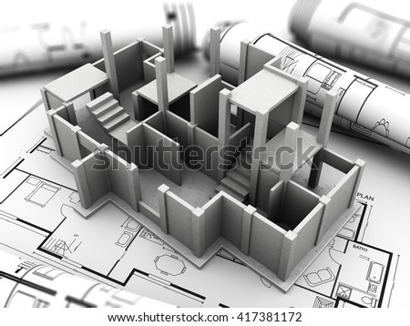 3d illustration of concrete house model and blueprints