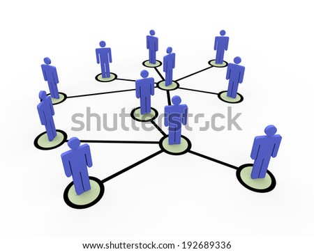 3d illustration of connected business people network - stock photo