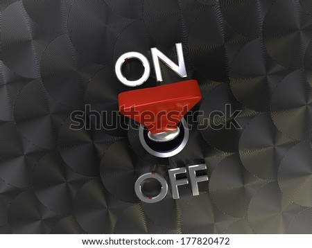 3d illustration of cool Realistic Toggle Switch turn on - stock photo