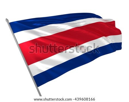 3d illustration of Costa Rica flag waving in the wind