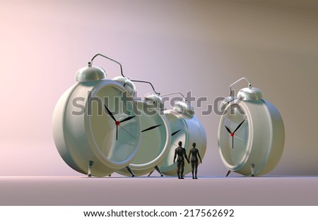 3d illustration of couple and alarm clocks, time passing concept - stock photo