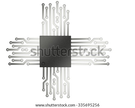 3d illustration of cpu chip central processor unit with contacts for connection. Top view. Isolated on white background - stock photo