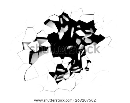 3d illustration of cracked hole in white background - stock photo