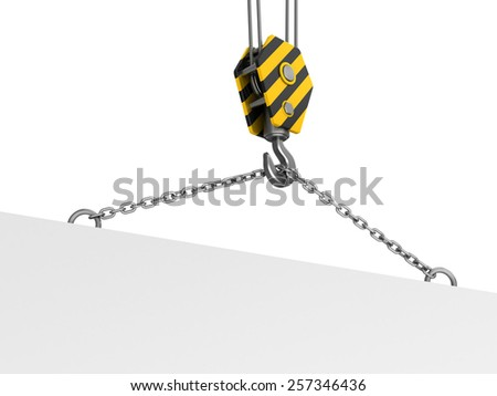 3d illustration of crane hook and plate with space for text - stock photo