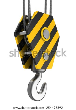3d illustration of crane hook isolated over white background