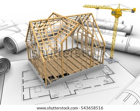 3d illustration of crane over house plan background with wooden house frame