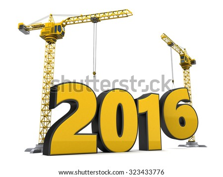 3d illustration of cranes and 2016 year sign, over white background - stock photo