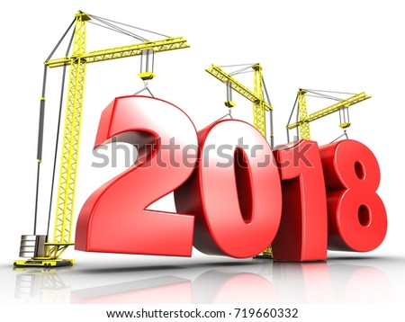 3d illustration of cranes building 2018 year sign over white background