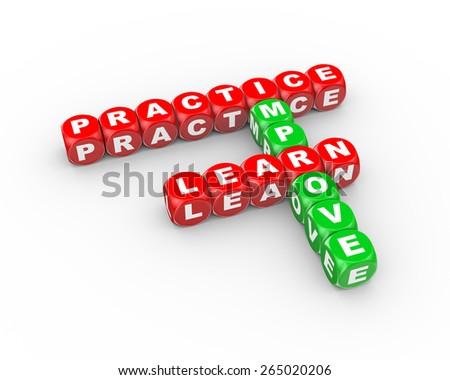 3d illustration of  crossword learn practice improve - stock photo