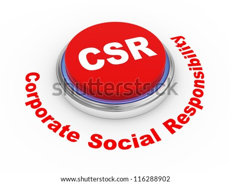 3d illustration of csr  corporate social responsibility button - stock photo