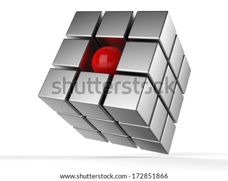 3d illustration of cube and sphere - stock photo