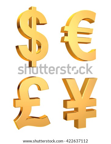3D illustration of Currency Symbols Set on a white background.