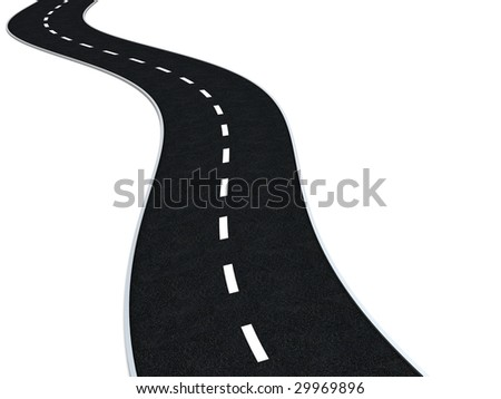 3d illustration of curvy road isolated over white background
