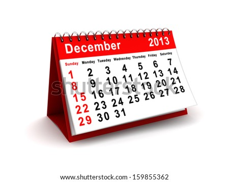 3d illustration of december 2013 calendar over white background - stock photo