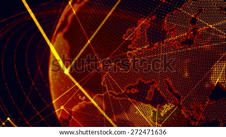 3d illustration of detailed virtual planet Earth. Technological digital globe world - stock photo