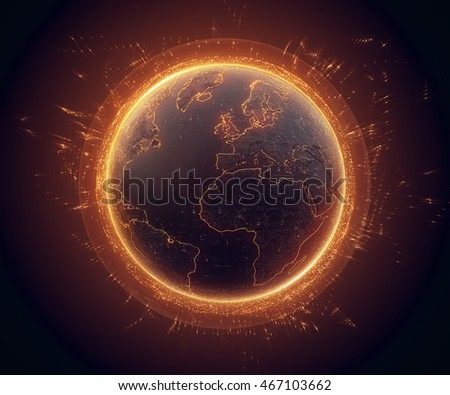 3d illustration of detailed virtual planet Earth with glow and orange bright elements. Technological digital globe world. 3d rendering