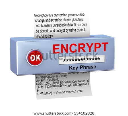 3d illustration of device with plain text conversion into encrypted data. Concept of data security and encryption process