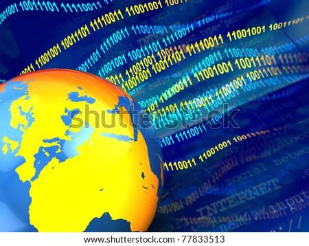 3d illustration of digital earth background, internet concept - stock photo