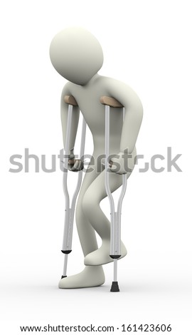 3d illustration of disabled injured person walking with crutches.  3d rendering of human people character