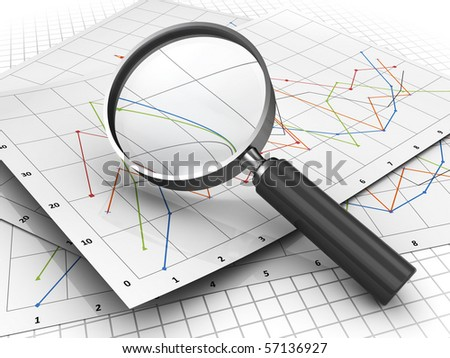 3d illustration of documents diagrams and magnify glass - stock photo