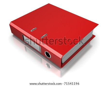 3d illustration of documents folder, over white background - stock photo