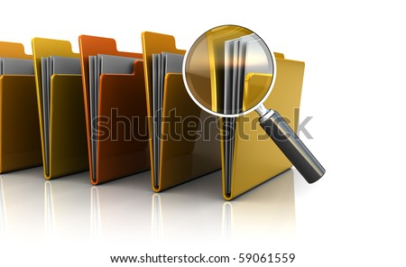 3d illustration of documents folders row with magnify glass