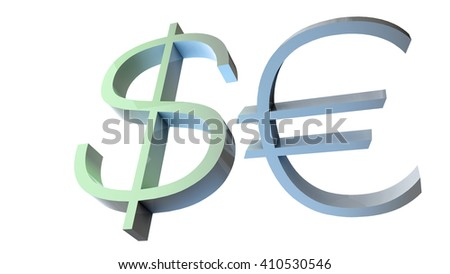 3D illustration of dollar and euro currency symbols