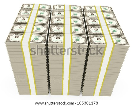 3d illustration of dollar banknotes stacked - over white background