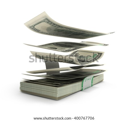 3d illustration of dollar bills flying out of the stack with a torn Lect are isolated on a white background - stock photo