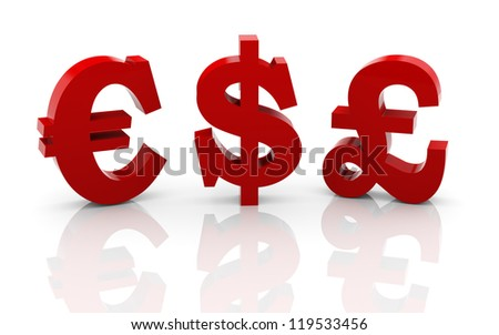 3d illustration of dollar, pound and euro currency symbols - stock photo