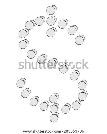 2d illustration of dollar sign - stock photo