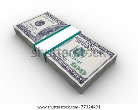 3d illustration of 100 dollars banknotes stack - stock photo