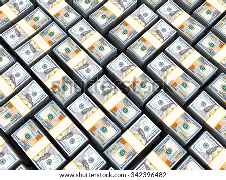3d illustration of 100 dollars stacks background - stock photo