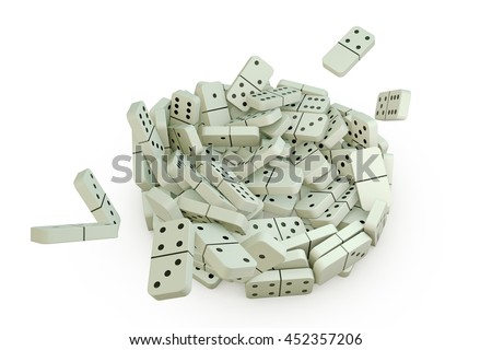 3d illustration of domino pieces that falling down on a white floor - stock photo