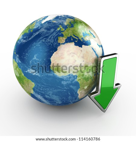 3d illustration of download concept on white background. Elements of this image furnished by NASA