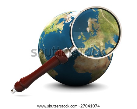3d illustration of earth and magnify glass, icon, background - stock photo