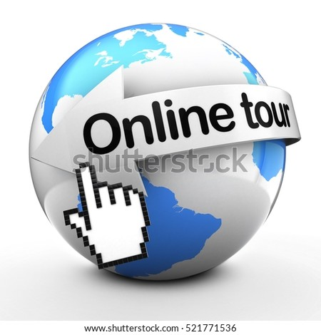 3d illustration of Earth globe on white back  with online tour text on white arrow
