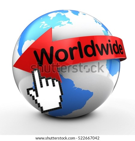 3d illustration of Earth globe on white back  with worldwide text on red arrow