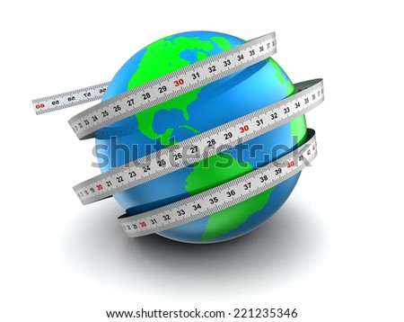 3d illustration of earth globe with meter ribbons over white background - stock photo